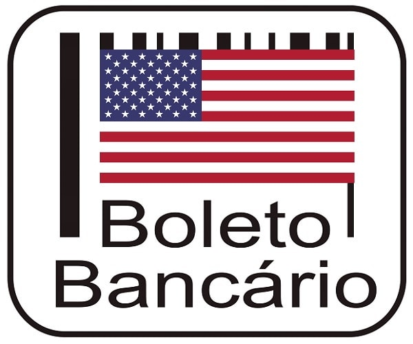Logo boleto bancário e bandeira dos EUA