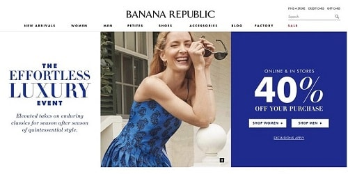 Homepage da Banana Republic