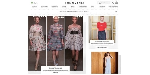 Homepage da THE OUTNET