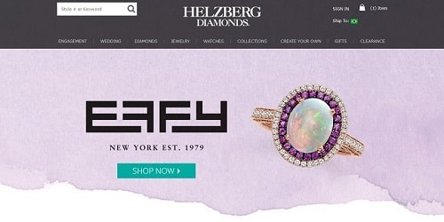 Homepage da Helzberg Diamonds