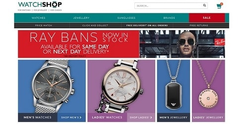 Homepage da Watchshop