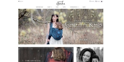 Homepage da Oscha Slings