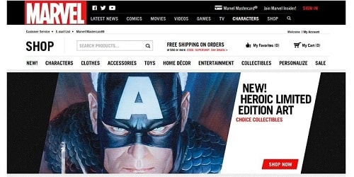 Homepage da Marvel Store