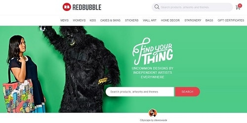 Homepage da Redbubble