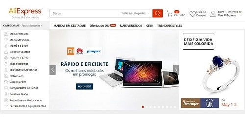 Homepage da AliExpress.com