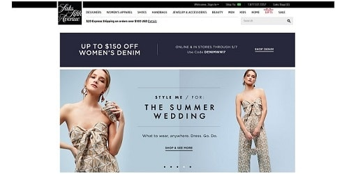 Homepage da Saks Fifth Avenue