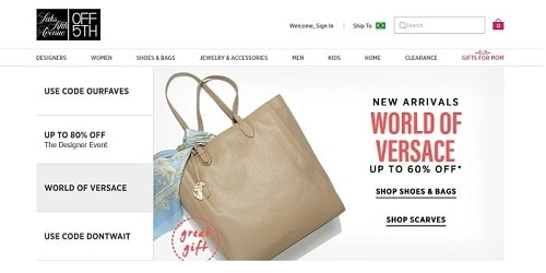 Homepage da Saks Off 5th