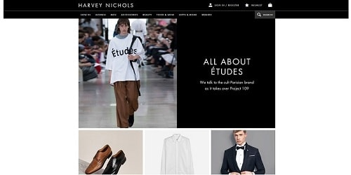 Homepage da Harvey Nichols