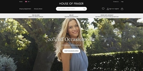 Homepage da House of Fraser