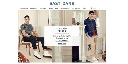 Homepage da East Dane