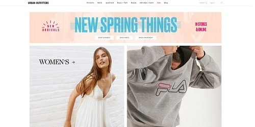 Homepage da Urban Outfitters