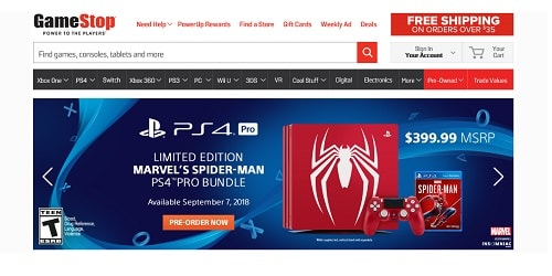 Homepage da GameStop