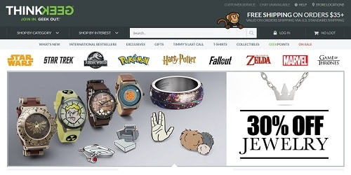 Homepage da ThinkGeek